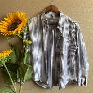 Blue + White Stripped Button-up